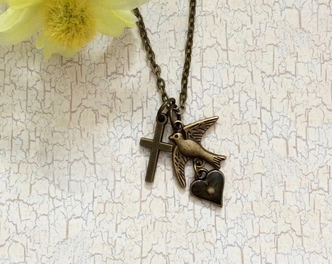 Mustard seed jewelry, Antique bronze charm pendant with petite charms with cross, dove, heart and mustard seed  with antique bronze chain