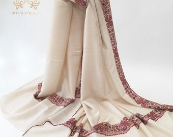 Pashmina Shawl Dul Dar Embroidery Natural White