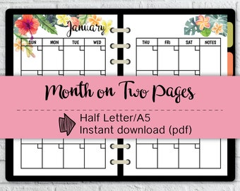 12 months Half Letter size,Sunday start,Month on two pages,MO2P,Monthly Planner,Printable #halfA002