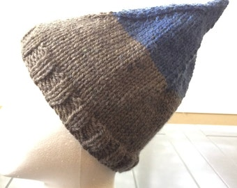 Child's Knitted Gnome Hat, Elf Hat, Pixie Hat, Unisex Knit Hat