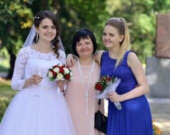 Wedding set For bridesmaids For the bride Beaded set White Beaded lariat Beaded bracelet with Swarovski Wedding jewelry Wedding necklace