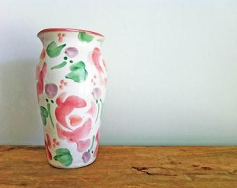 Vintage Handmade Art Pottery Pastel Pink & Green Floral Vase, Small Vase, Handmade Pottery Vase, Flower Vase, Vintage Ceramic Vase