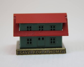 Dollhouse Miniature Old Fashioned 'Save For A Home' House Bank is a Souvenir from NAME's 25th Houseparty (1/12 Scale)