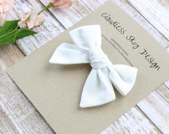hair bows, white bow, girls hair bow, school hair bow, hair bow for girls, baby hair bow, fall bow, white bow clip, tied bow