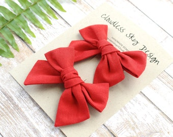 pigtail bows, red bows, bow, pigtail set, red pigtail bows, pigtail bow sets, bow clips, bows for girls, baby bows, christmas hair bows