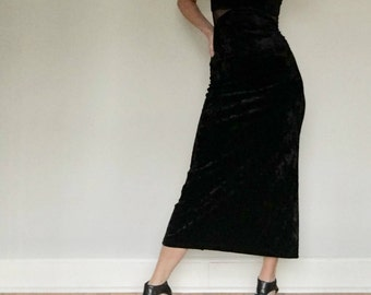 90s black velvet maxi dress// Vintage TOP THIS// Long goth club cocktail fitted tight sexy hot crushed mesh// S small to M medium 4 5 6 7 8