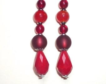 Earrings Red Ruby, Burgundy / beads, glass, resin, gemstone / gift women girls