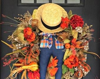 Thanksgiving Wreath, Fall Wreath, Autumn Wreath, Pumpkin Wreath, Rustic Fall Wreath, Fall Door Wreath, Fall Wreath for Door, Fall Scarecrow