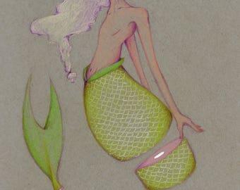 Laminated guro mermaid drawing