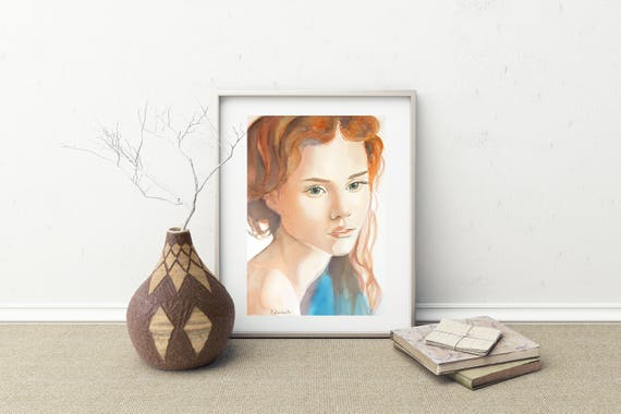 Girl portrait, giclée fine art print of original watercolor artwork, gift idea for home inauguration, traditional lounge, living, modern art