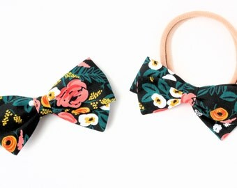 Rifle Paper Hair Bow - RAYON - Fabric Hair Bows for Girls - Nylon Headbands or Hair Clips for Girls
