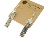 Sterling Silver Mid Century Modern Inspired Modernist Vintage Style Minimalist Intersecting Lines Drop Earrings
