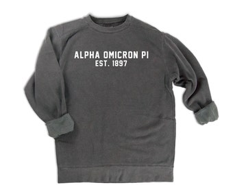 Alpha Omicron Pi Sweatshirt, AOPi Sorority Gift, Alpha Omicron Pi Est 1897, Big Little Sorority Sweatshirt, AOII Comfort Colors Sweatshirt