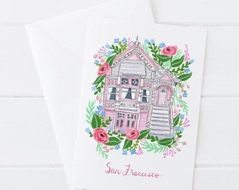 Pink House San Francisco SF Victorian Painted Lady Floral Feminine Greeting Card 5x7