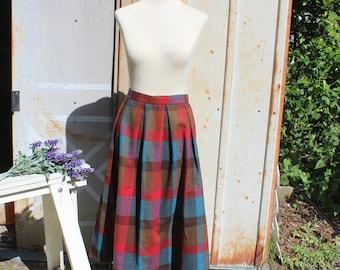 60's Red Wool Blend Plaid Skirt - M