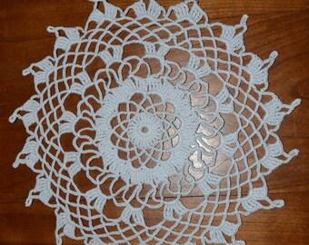 Handmade white doily, 21cm, round, crocheted with fine cotton