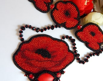 Red Poppies Necklace Red Poppy Jewelry  Flower necklace Red poppy Poppy necklace Red necklace