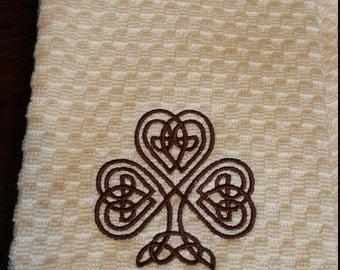 Celtic Knot Waffle Weave Towels Kitchen Bar Bath Hand Towels 100% Cotton  White