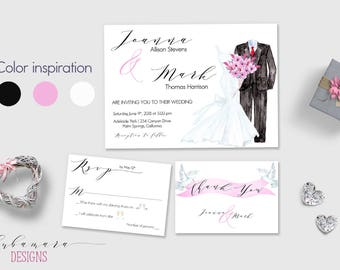 Romantic Bride and Groom Wedding Invitation Set Tuxedo Bridal Gown Wedding Dress Invitation Suite Pink Flowers Calligraphy Invite - WS049