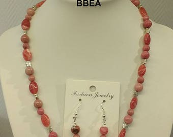 Finery Rhodocrosite, stone of protection against jealousy, bracelet, necklace and earrings.