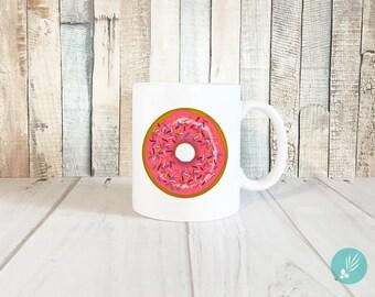 Donut Coffee Mug, Donut Coffee Cup, Donut Mug, Donut Cup, Pink Donut Mug, Cute Mugs, Cute Coffee Mugs, Cute Coffee Cups, Funny Coffee Mugs