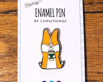 "NEW!!! Corgis + Coffee Enamel Pin | Corgimoji Collectible Series| 1.25"" Tall Hard Cloisonne Enamel Lapel Corgi Pin 