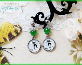 Cat lover earrings gift for sister Cat eye jewelry Green stud earrings Cat cabochon earrings for girl Modern chandelier earrings
