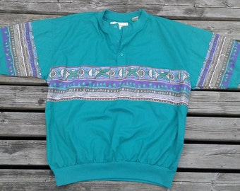 Vintage 90's Super Killer Party Time Colourful Pullover short sleeve button up aztec design made by ASTRA large sized