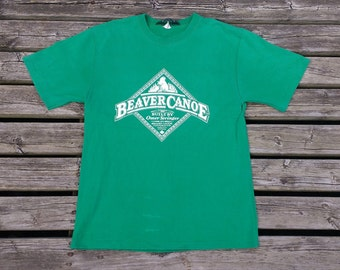 Vintage 80's / 90's Bright Green Beaver Canoe Made in Canada t-shirt small