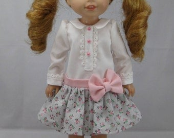 "Wellie Wisher Dress with Pink Bow / 14.5"" Doll Dress"