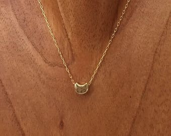 Gold plated necklace with Crescent Moon charm. Crescent Moon pendant necklace