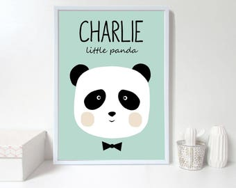 Custom baby nursery wall art,panda nursery print,Personalised wall print, custom name,green Nursery art prints ,baby nursery decor,Kids Room