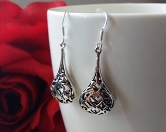 Sterling Silver Earrings with Oriental Look Magdalena, Silver Earrings, Dangle Earrings, Tear Earrings, Handmade Earrings, Gift Idea