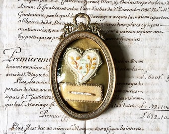 Antique French Sacred Heart, a Beautiful and Extremely Rare Sacred Heart Reliquary in its Original Frame, Milagro, Ex Voto, 19th Century