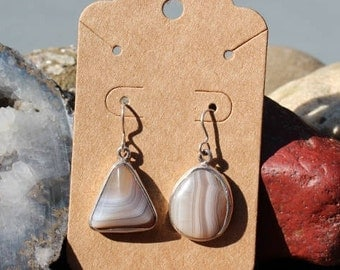 Lake Superior Shadow Agate Earrings set in Tiffany Silver