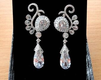 Rhinestone Chandelier Earrings Long Bridal Earrings Art Deco