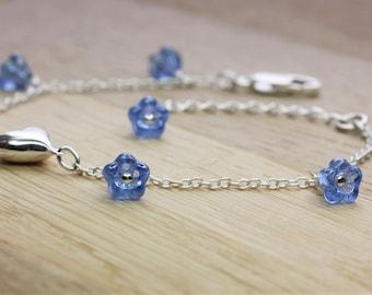 Forget Me Not Bracelet, Forget -me-not Love Bracelet, Sterling Silver, Adjustable length