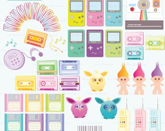 Cool Things in the 90's, Furbies Troll Doll Slinky Polaroid, Digital Clipart, Commercial Use, Scrapbook, Commercial use, Digital Stamps, PNG