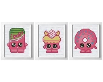 Shopkins cross stitch pattern, funny cross stitch pdf, shopkins embroidery pattern, shopkins cake design, shopkins cross stitch funny chart