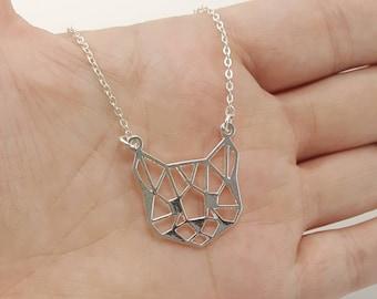 Geometric Cat Necklace, Cat Face Necklace, Cat Choker, Origami Cat, Cat Jewelry