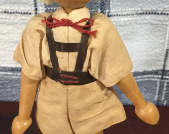 Vintage wood Dutch Boy Doll 7' tall with movable arms and legs