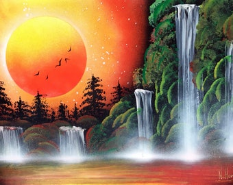 Orange picture Waterfall painting Spray paint Landscape painting Sunset painting Nature Artists original Sunset wall art Nature wall decor