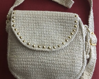 Handmade withe and gold purse