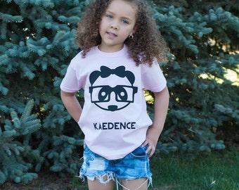 Panda with glasses shirt, nerd panda, panda shirt, kids shirt, hipster kid shirt, personalized shirt, panda name shirt, personalized panda