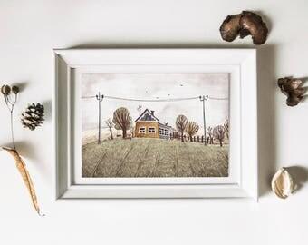 Country landscape postcard and kraft envelope • Small cottage • Rural landscapes • Illustrated Cards • Vintage style