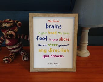 Printable Nursery Wall Art Decor Dr. Seuss Brains In Your Head Feet In Your Shoes Kids Children Gift Digital Download