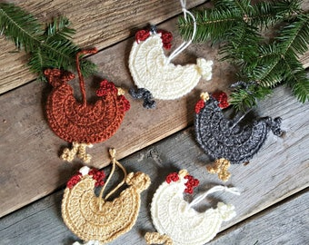 Chicken Ornaments - 8 color options