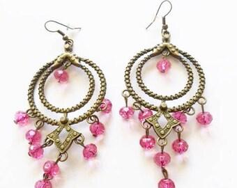 Vintage bronze tone Pink beads chandelier dangling earrings