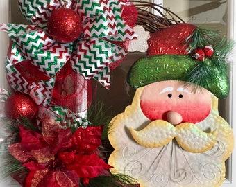 Metal Santa  and Poinsettia Wreath, Santa Christmas Wreath, Christmas Wreath, Christmas Decor