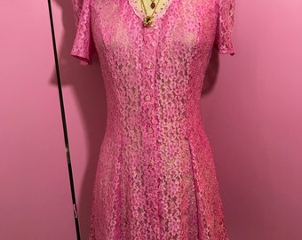 lace dress/pink lace dress/fab 208 nyc/vintage lace dress/vintage dress